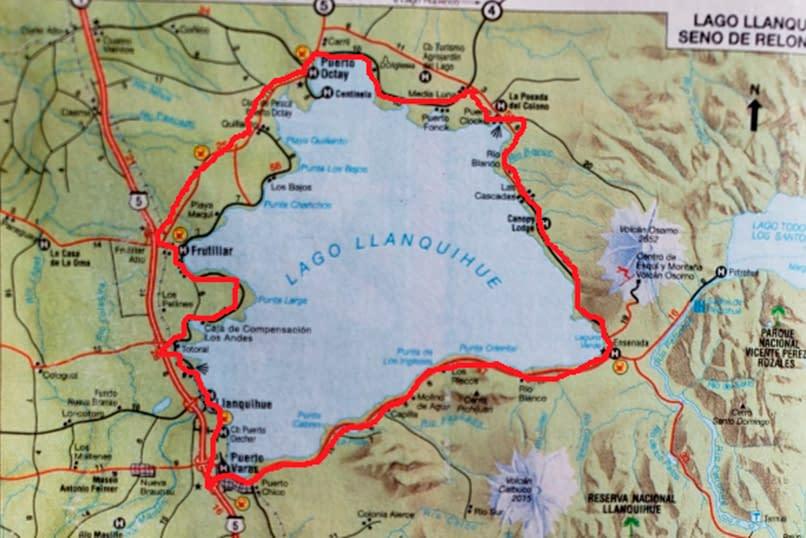 mapa vuelta al lago llanquihue