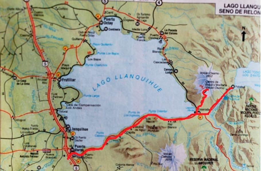 mapa saltos del petrohue - volcan osorno