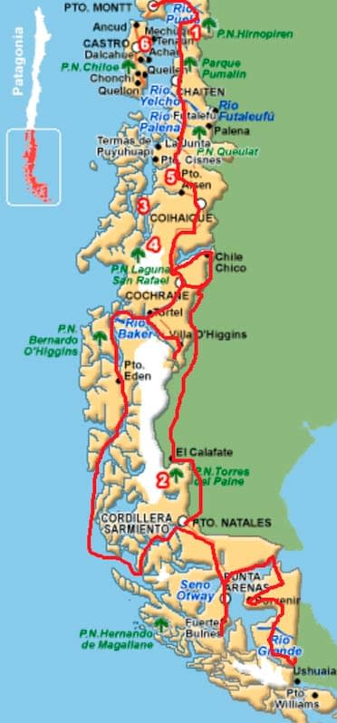 mapa crossing patagonia expedition